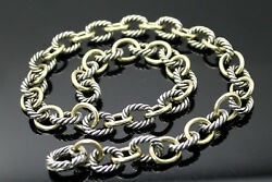 Authentic David Yurman 18k Yellow Gold Sterling Silver Cable Link 16 Necklace