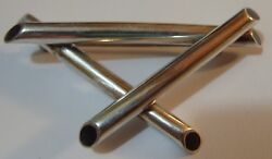 Large Vintage Sterling Silver Modernist Crossed Tubes W Onyx Ends Pin