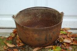 Antique Vintage Cast Iron Large 18 D 3-footed Fireplace Cooking Cook Pot