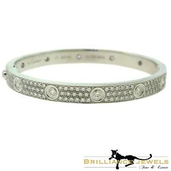 NEW Authentic Cartier Love Bracelet in 18k White Gold Diamond-Paved Size 17