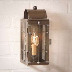 Primitive Country Farmhouse Colonial Cape Cod Outdoor Wall Lantern In Brass