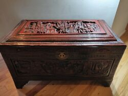 Breathtaking Hand Carved Cedar Lined Chest Asian Inlay Red Wood