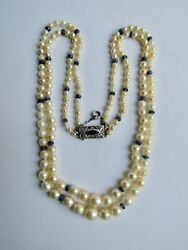 Antique Silver Sapphire Natural Pearl Graduated Double Strand Necklace Appraisal