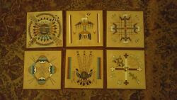 Lot Of 6 Navajo Sand Painting From American Indian Life And Legends 8 X 8