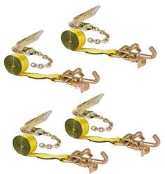 4 Pack 2 Chain Ratchet Straps W Rtj Tie Down Roll Back Tow Truck Car Hauler
