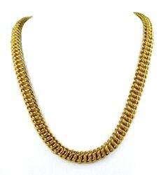 Faro Italy 14k Yellow Gold 8.5mm Woven Chain Collar Necklace 16.5