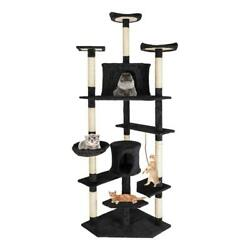 80quot; Cat Tree Pet Play House Cat Tower Condo Furniture Scratch Post Toy Bed Black