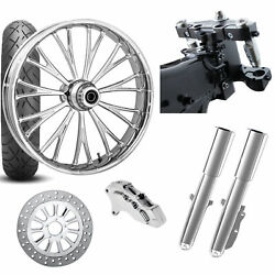 Rc 26 Dynasty Chrome Wheel Tire Neck Rake Front End Package Harley Single Side