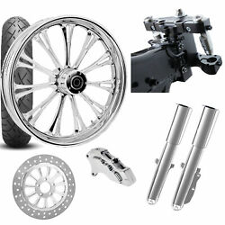 Rc 26 Imperial Chrome Wheel Tire Neck Rake Front End Package Harley Single Side