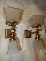 Mission Arts And Crafts Gas And Electric Combination Brass Sconces With Etched Sh