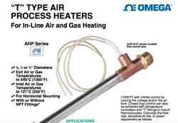 """NIB $147 OMEGA OMEGALUX AHP-7562 """"T"""" TYPE AIR HEATER In-line Air"""