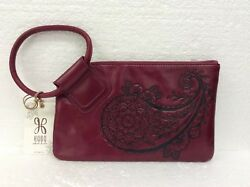 Hobo Bags Genuine Leather Sable Ruby Embossed Paisley Wristlet Purse Clutch New
