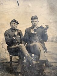 Late 1880s Civil War Reunion Tintype Native American Soldier With White Soldier