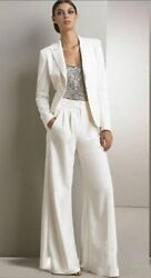 White Ivory Pant Suits Sequins Satin Long Sleeves Formal Delivery In About 20 Da