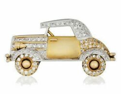 2.00ct Natural Round Diamond 14k Solid Yellow Gold Vintage Car Brooch