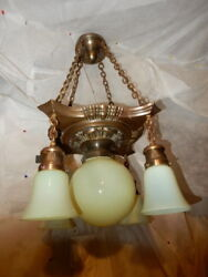 Arts And Crafts Nouveau Brass Fixture Chandelier With Vaseline Opalescent Shades
