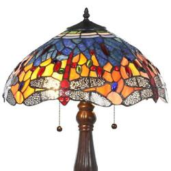 Red Dragonfly 25 In. Bronze Table Lamp   Glass Stained Light Style Shade