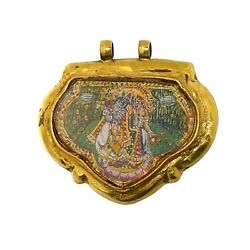 2404vintage 18k Gold Pendant With Paintings Of    . India.