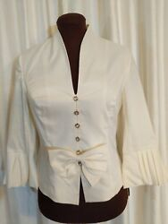 Adrianna Papell Boutique Evening White Formal Blouse size 8 So Fab EXCELLENT $39.99