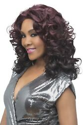 Vivica Fox Lace Front Wig 18 Romance Curl Center Skin Part Bang - Serenity