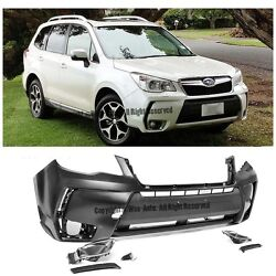 Xt Style Front Bumper W/ Conversion Fog Light Cover For 14-up Subaru Forester
