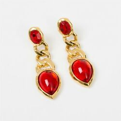 Vintage Signed Trifari Yellow Gold Toned & Red Jewel Drop Dangle Earrings 1.75