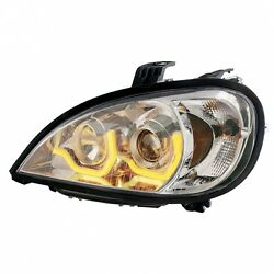Chrome Freightliner Columbia Projection Headlight W/ Dual Led Light - Driver