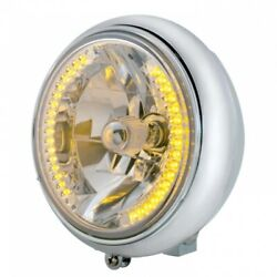 Chrome 7 Motorcycle Grooved Headlight W/ 34 Amber Led Bulb