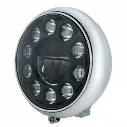 Chrome 7 Motorcycle Grooved Headlight W/ Blackout 11 Led Bulb