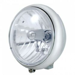 Chrome 7 Motorcycle Grooved Headlight W/ Crystal H4 Halogen Bulb