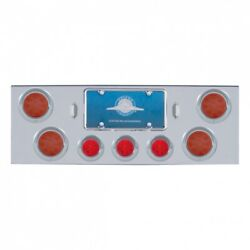 Rear Center Panel Reflector Lights And 1/2 Beehive And Visors - Red Led/red Lens