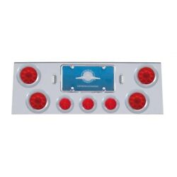 Rear Center Panel 4 Lights And 1/2 Beehive Lights And Bezels - Red Led/red Lens