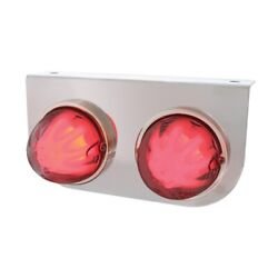 Light Bracket W/ Two 9 Led Dual Function Glo Lights - Red Led/clear Lens