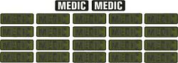 MEDIC Embroidery Patches 3x10 hook od green set of 20 + 2 white