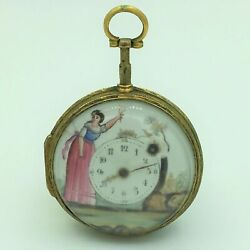 Antique Verge Fusee Key Wind Hand Painted Open Face Pocket Watch