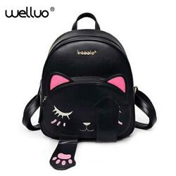 Cute Cat Backpack School Women Pu Leather Backpacks for Teenage Girls Funny Cats $39.30