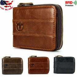 RFID Men's Real Genuine Leather Cowhide Zipper Around Card Slots Coin Wallet USA