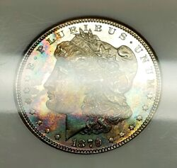 1879-s Morgan Dollar Ms65 Ngc Monster Rainbow Toned Obverse And Pl Surfaces