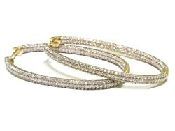 Ladies 14k Yellow Gold 4.25ct White Round Cut Diamond Oval In/out Hoop Earrings