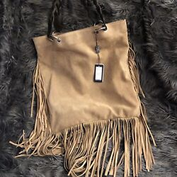 D2 Beige Suede Fringed Hobo Double Handle Shoulder Hand Bag Purse NWT Made Italy $150.00