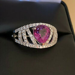 Gia Certified 2.48ct Natural Pink Sapphire And Diamond Platinum Ring - Stunning
