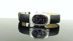 Philip Stein Signature Dual Time Black Leather Strap Women's Watch