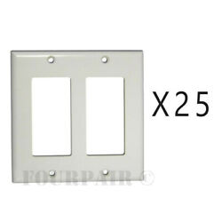 25 Pack - 2-gang Decora Decorator Flush Wall Face Plate Outlet Cover Gfci White