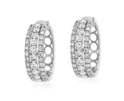 2.30ct Natural Round Diamond 14k Solid White Gold Hoops Snap Closure Earring