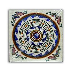 36 White Marble Center Dining Room Table Top Mosaic Inlay Fish Art Decor E1045