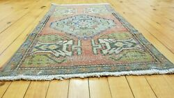 Primitive Antique 1900-1930's,wool Pile, 1'8'' X 3'2 Muted Dye Tribal Rug