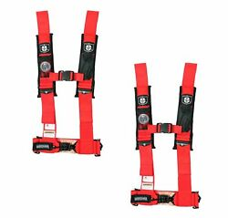 Pro Armor 4 Point Harness 3 Pads Seat Belt Pair Red Arctic Cat Prowler 1000