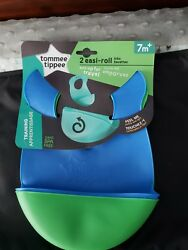 Tommee Tippee Easi Roll Baby Bib 7+ months - Blue and Green 2 Count brand new