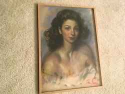 Lovely Vintage French Drawing Pastels Chalkware Beautiful Lady Signed '59