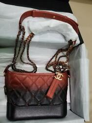 Chanel Gabrielle Hobo Aged Calfskin Quilted Small RedBlack Leather Hobo Bag